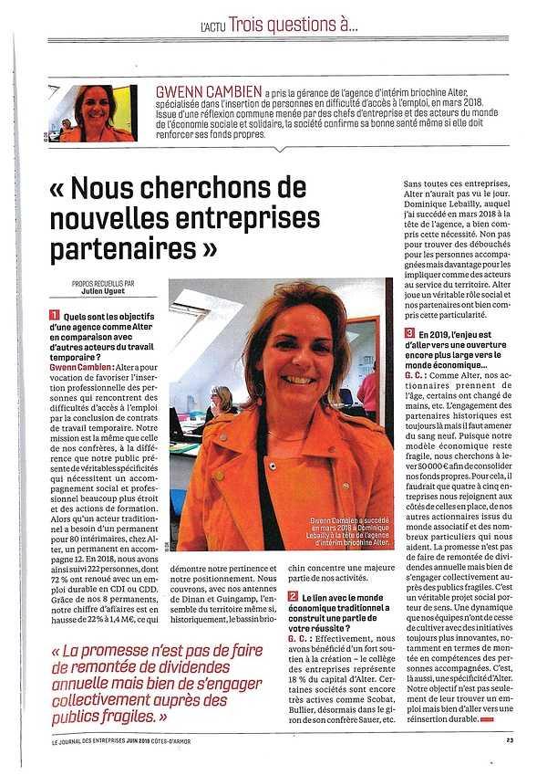 Alter dans le JDE - Journal Des Entreprises - Juin 2019 0